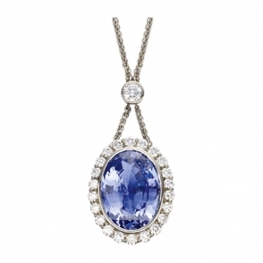 18ct White Gold Tanzanite and Brilliant Cut Diamond Pendant. Design no. 1S403