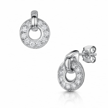 18 White Gold Diamond Circle Earrings