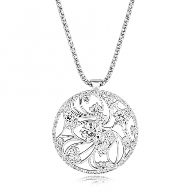18 White Gold Diamond Circle Pendant