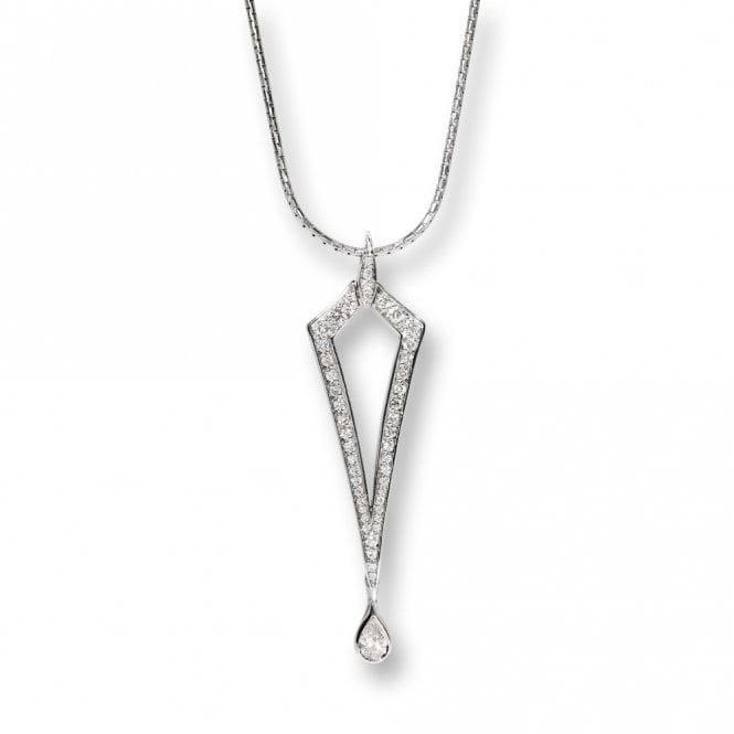 18 White Gold Pave Diamond Arrowhead Pendant