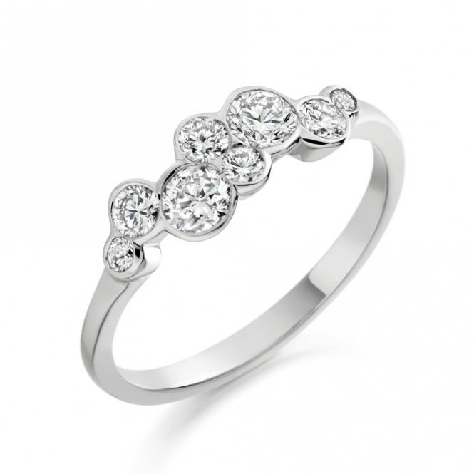18 White Gold Rubover Set Brilliant Cut Diamond Ring