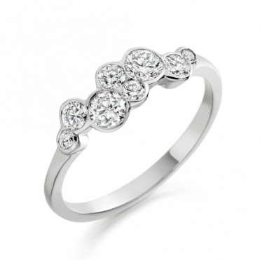 18 White Gold Rubover Set Brilliant Cut Diamond Ring