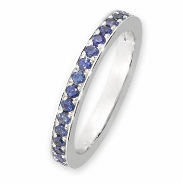 18 white gold sapphire full eternity ring