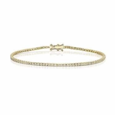 18 Yellow Gold Diamond Line Bracelet