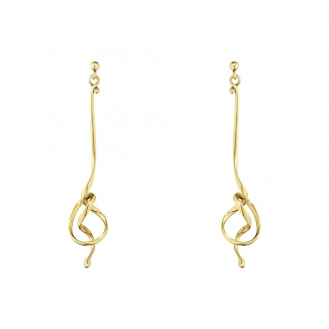 18ct Gold Forget-Me-Knot Drop Earrings