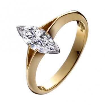 18ct Gold Marquise Cut Diamond Engagement Ring
