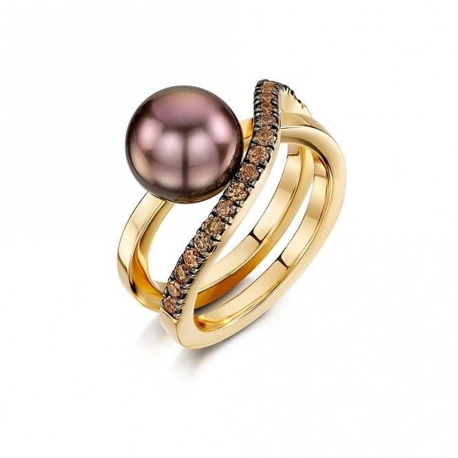 18ct Rose Gold Black South Sea Tahitian Pearl & Cognac Diamond Ring