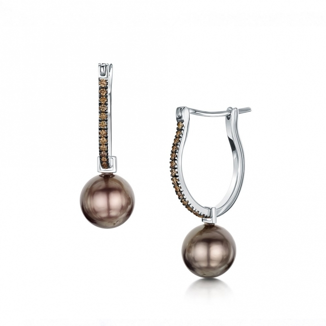 18ct Rose Gold Diamond Set Brown Tahitian Pearl Hoop Earrings