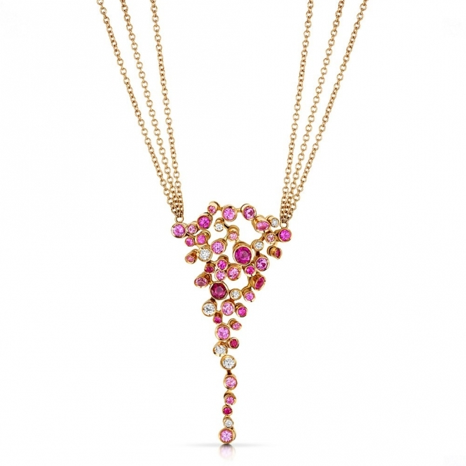 18ct Rose Gold Pendant set with Diamonds, Rubies & Pink Sapphires