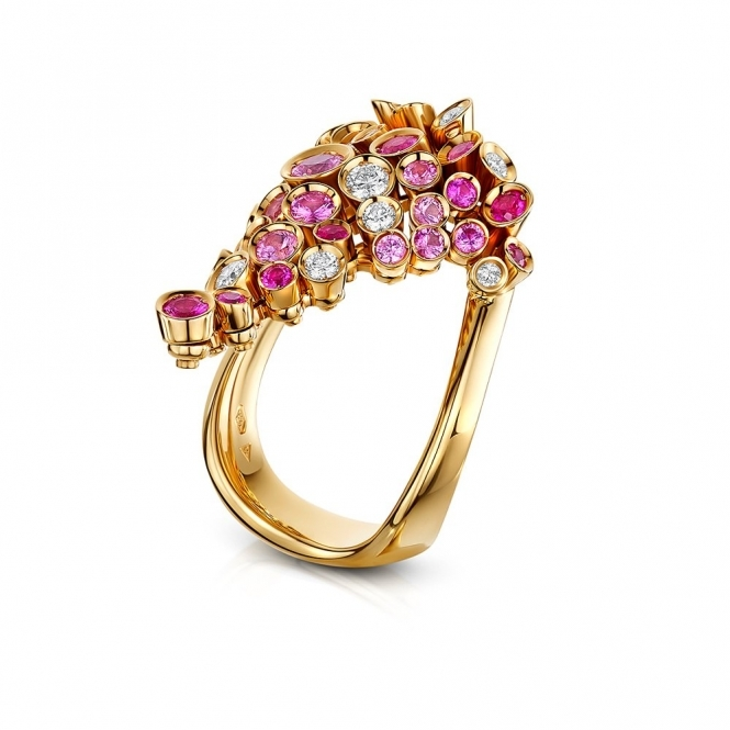 18ct Rose Gold Pink Sapphire and Diamond Ring