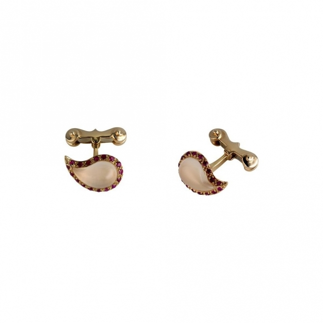 18ct Rose Gold, Ruby & Rose Quartz Teardrop Cufflinks