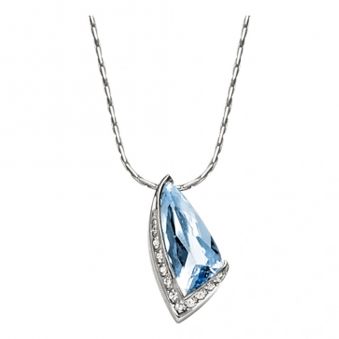 18ct White Gold Aquamarine and Diamond Pendant.