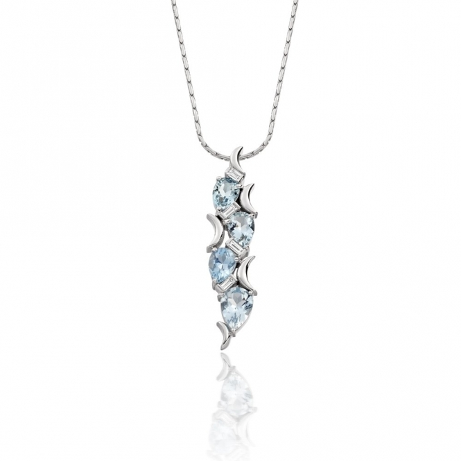 18ct White Gold Aquamarine & Baguette Cut Diamond Pendant