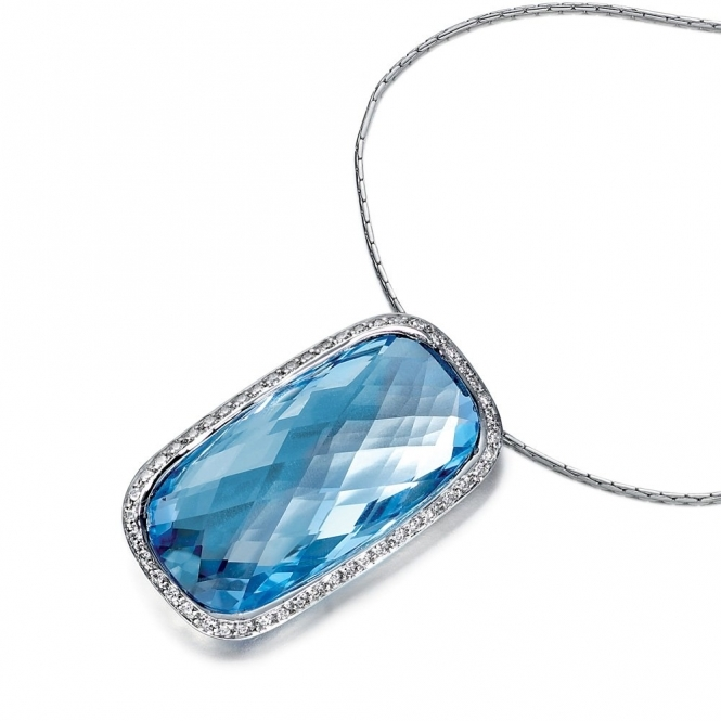 18ct White Gold Blue Topaz & Diamond Pendant 1V91A
