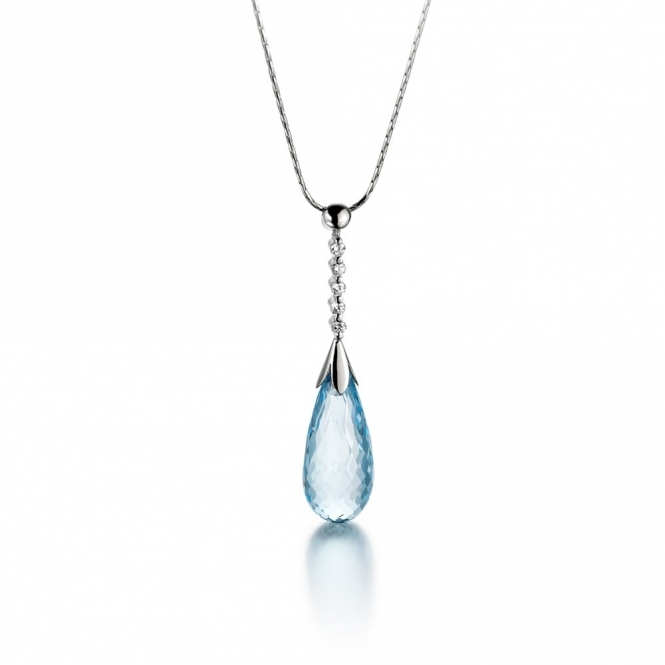 18ct White Gold Blue Topaz & Diamond Set Pendant. Design No. 1U43A