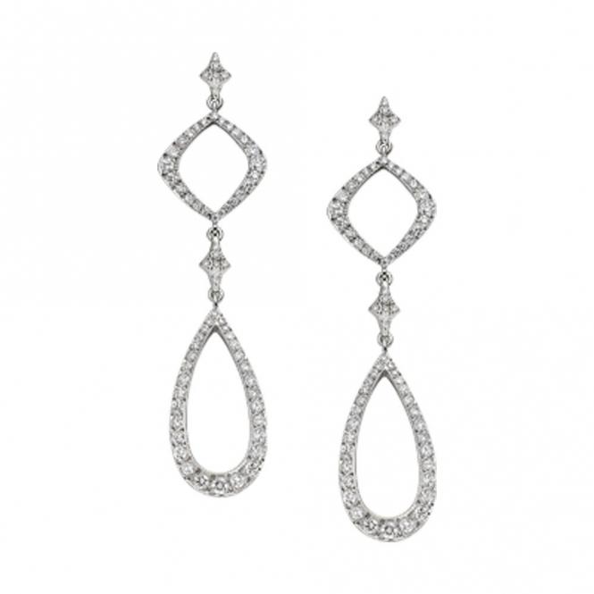 18ct White Gold brilliant Cut Diamond Earrings . Design no. 1W80A
