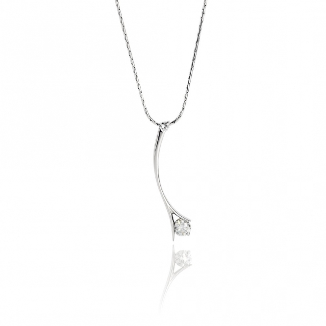 18ct White Gold Brilliant Cut Diamond Set Pendant. Design No. 1U66A