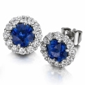 18ct White Gold Ceylon Sapphire and Diamond Cluster Earrings