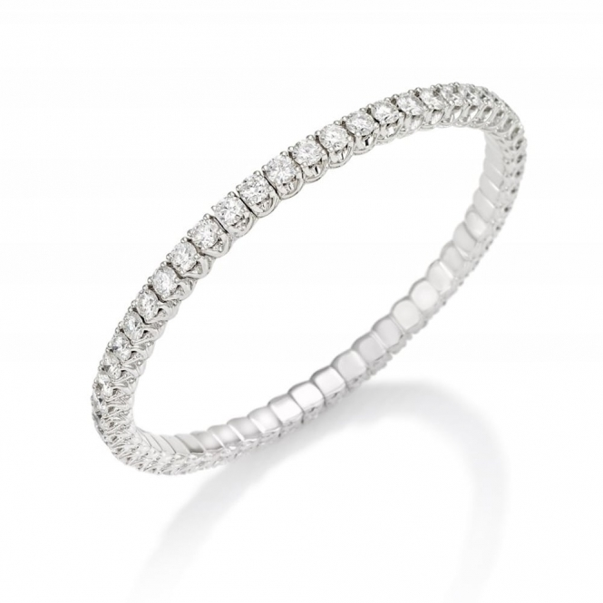 18ct White Gold Claw Set Diamond Expandable Eternity Bracelet