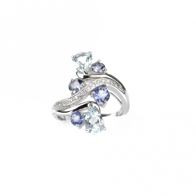 18ct White Gold Cluster Gemstone Ring RRP £1560