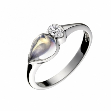 18ct White Gold Diamond and Moonstone Ring 1V50A