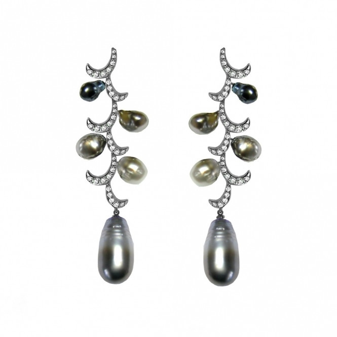18ct White Gold Diamond and Sea Pearl Whispering Curl Earrings