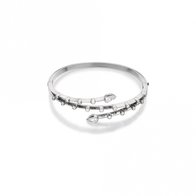 18ct White Gold Diamond Bangle. Design No. 1V23A