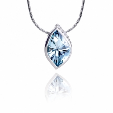 18ct White Gold Diamond & Blue Topaz Pendant