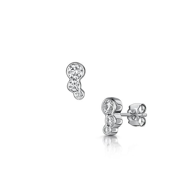 18ct White Gold Diamond Bubble Stud Earrings