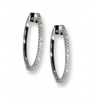 18ct White Gold Diamond Claw Set Hoops 0.47ct Total