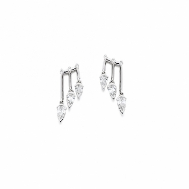18ct White Gold Diamond Earrings. Design No. 1V21A