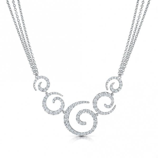 18ct White Gold Diamond Five Swirl Necklace