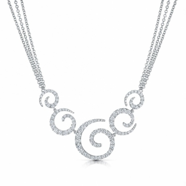 18ct White Gold Diamond Five Swirl Necklace
