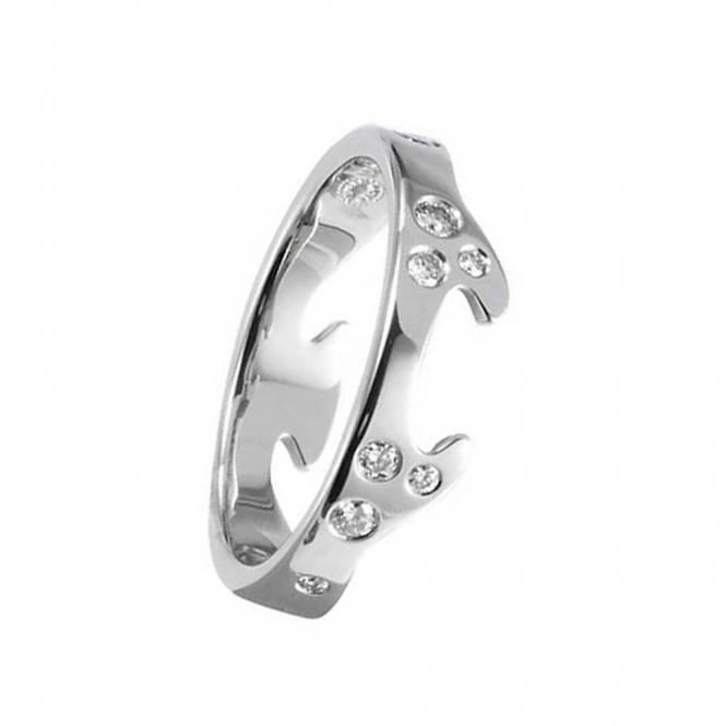 18ct White Gold Diamond Fusion End Ring 1367