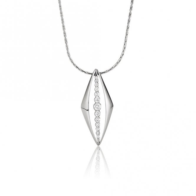 18ct White Gold Diamond Pendant. Design No. 1V20A