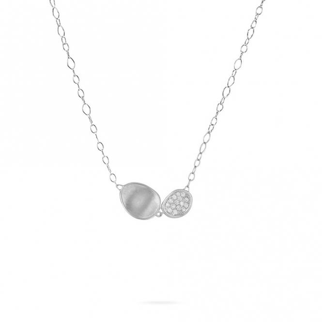 18ct White Gold Diamond Set Double Drop Lunaria Necklace