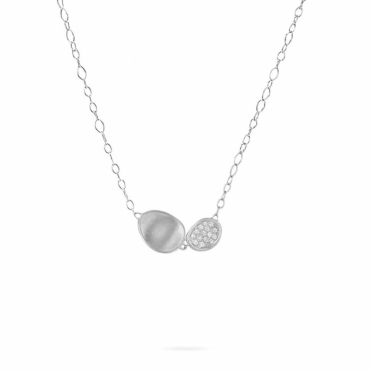 18ct White Gold Diamond Set Double Drop Lunaria Necklace