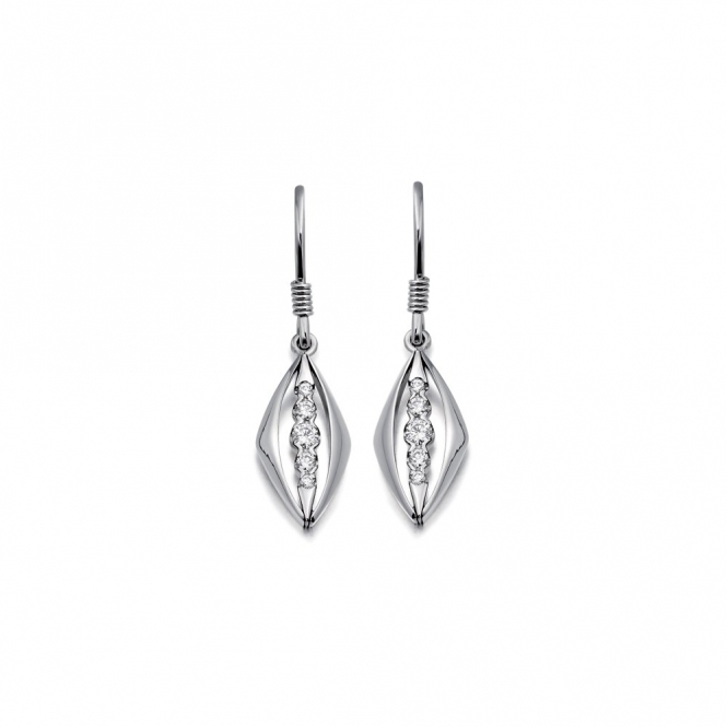 18ct White Gold Diamond Set Drop Earrings. Design No. 1V20A