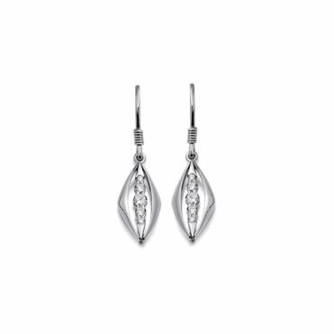 18ct White Gold Diamond Set Drop Earrings. Design No. 1V20A