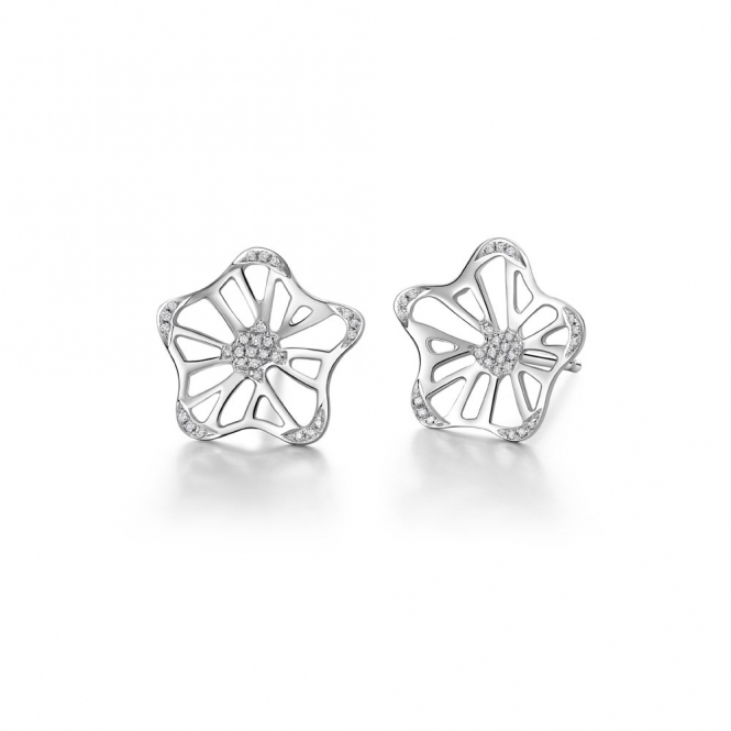 18ct White Gold Diamond Set Large Stud Allure Stud Earrings