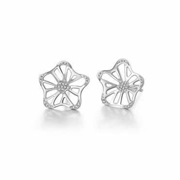 18ct White Gold Diamond Set Large Stud Allure Stud Earrings