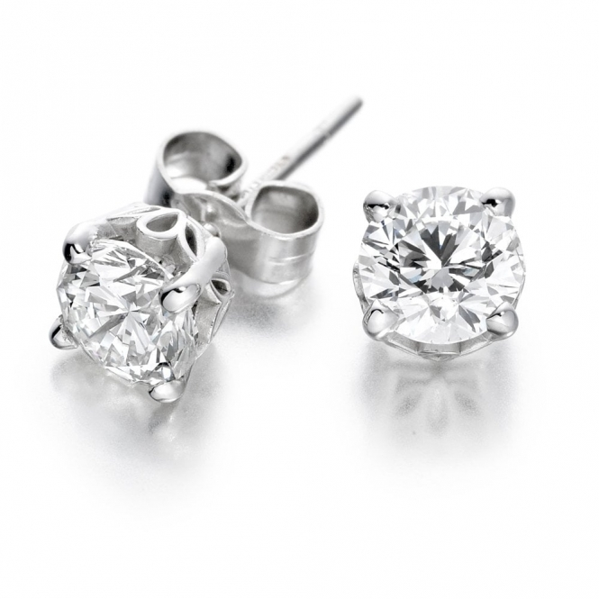 18ct White Gold Diamond Set Stud Earrings 0.66ct total