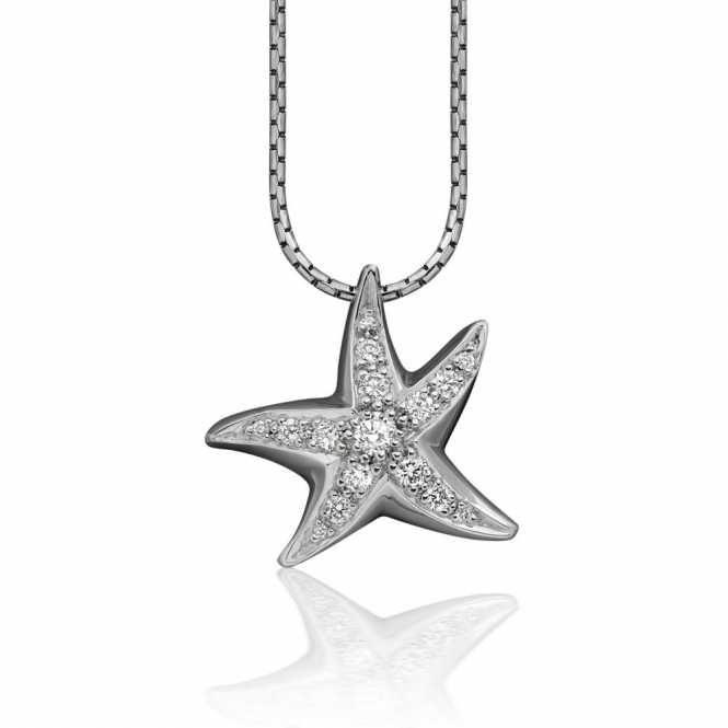 18ct White Gold Diamond Starfish Pendant 2A04A