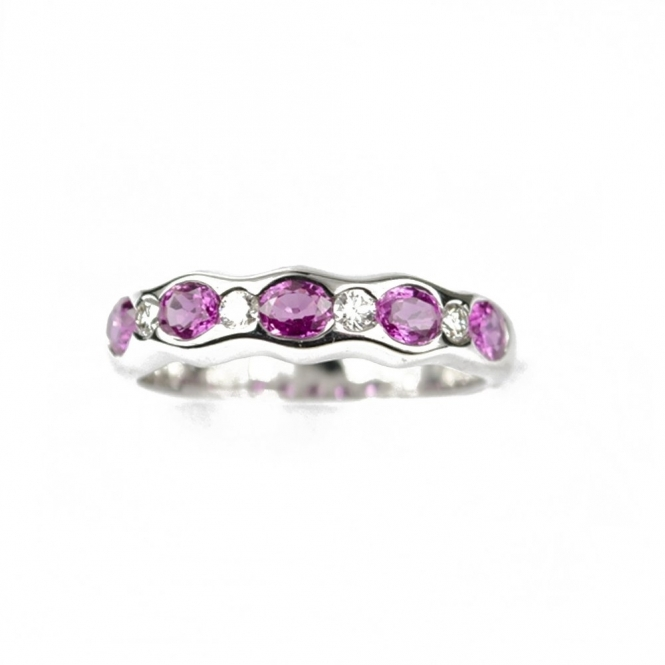 18ct White Gold Eternity Ring with 5 Pink Sapphires