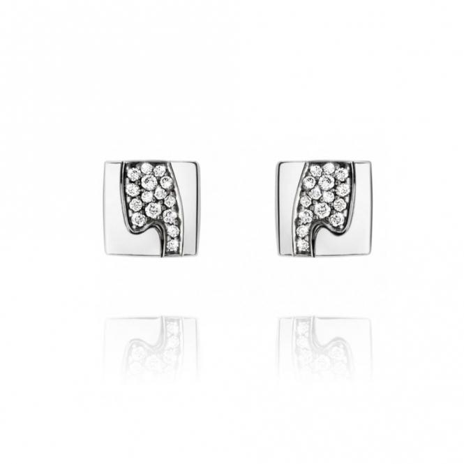 18ct White Gold Fusion Pave Set Diamond Studs