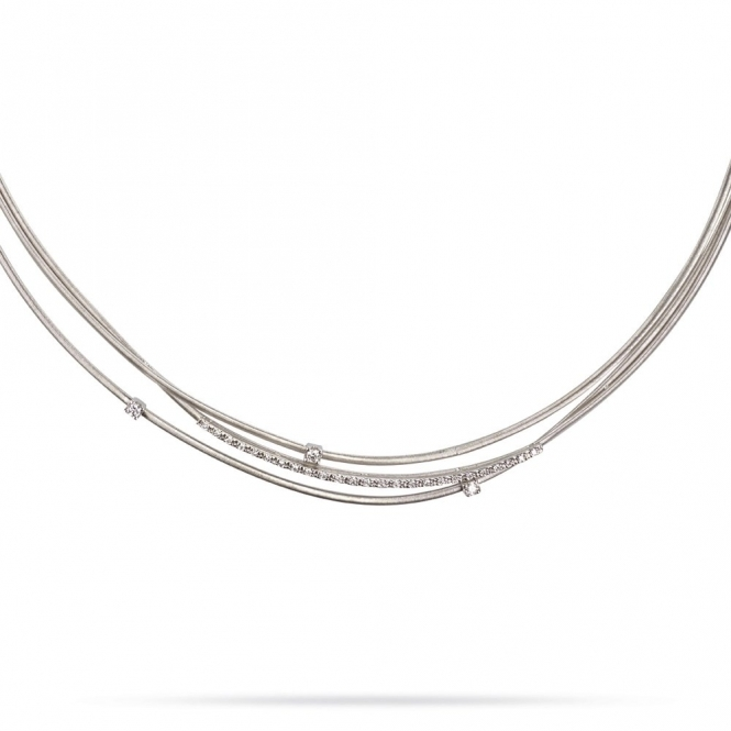 18ct White Gold Goa 3 Strand Diamond Necklace