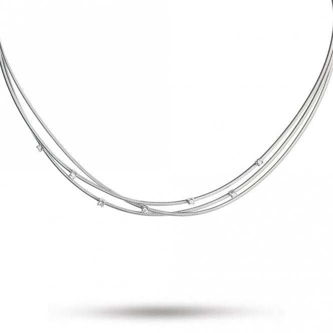 18ct White Gold Goa Three Strand Diamond Necklace