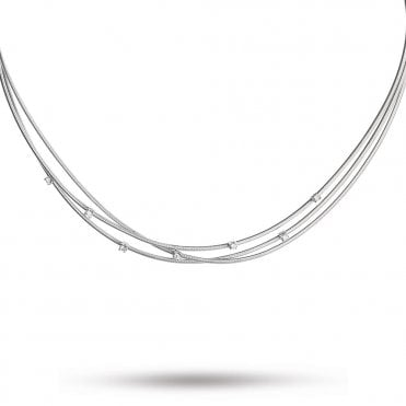 18ct White Gold Goa Three Strand Diamond Necklace