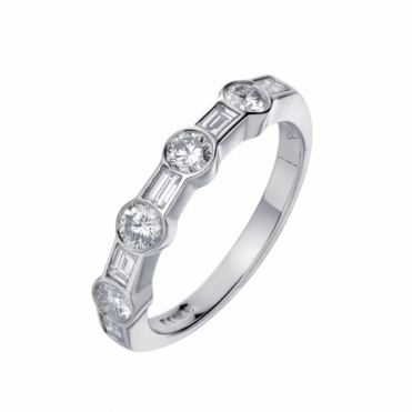 18ct White Gold Half Eternity Ring 1R08A