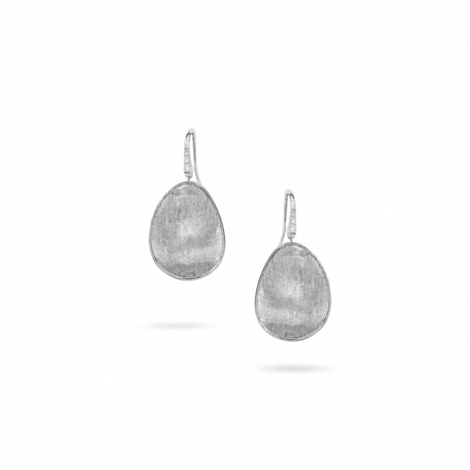 18ct White Gold Lunaria Drop Earrings with Diamond Set Hooks